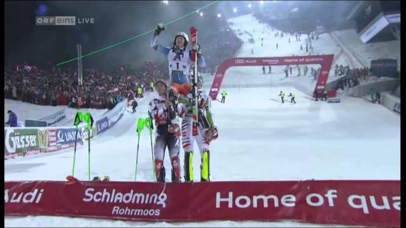 Nightrace Nachtslalom Schladming 2014 - Duell Hirscher - Neureuther - 2.Lauf