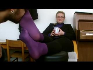 Sniff violet nylon feet Miss Teacher