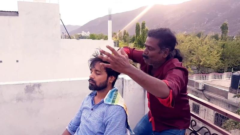 Cosmic Barber Outdoor Head Massage Baba Sen the Cosmic Barber