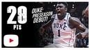 Zion Williamson Duke vs Ryerson - Full Highlights   8.15.18   29 Pts, 13 Rebs, Preseason Debut!