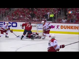 Playoff 2019. r1g2. mrazek takes a carlson shot off the helmet, shakes it off and stays in the game.