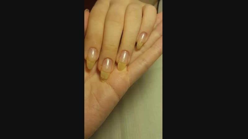 выравнивание ногтевой пластины каучуковой базой.  Идеальные блики