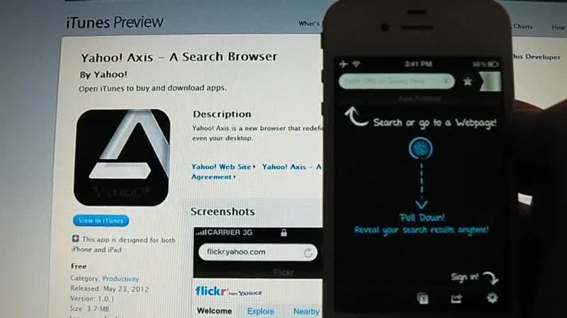 Yahoo Axis A Search Browser App Review for iDevices HD