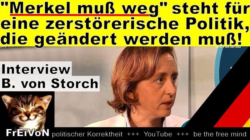 Merkel muß weg - steht für zerstörerische Politik, die weg muß! Von Storch AfD-Parteitag Augsburg
