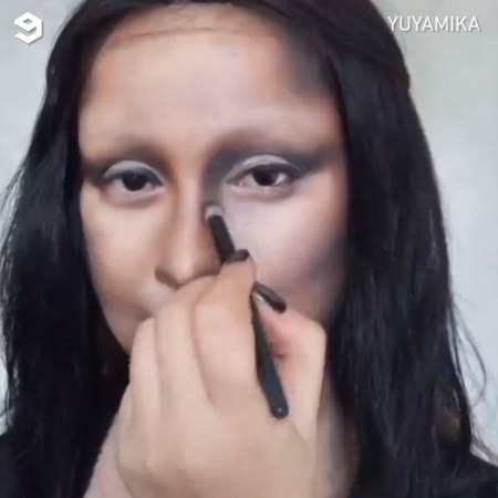 "9GAG: Go Fun The World on Instagram: ""When your crush says he's into classical art - 🎥 Yuyamika - makeup facepaint monalisa 9gag davinci"""