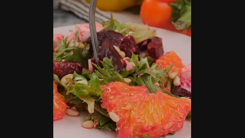 Рецепт необычного но очень вкусного свекольного салата с апельсинами и фетой смотреть онлайн без регистрации