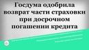 Госдума одобрила возврат части страховки при досрочном погашении кредита
