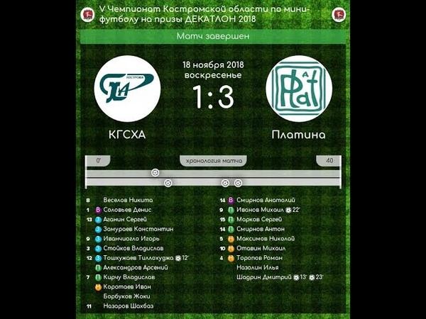 КГСХА - Платина 1:3 V Чемпионат Костромской области по мини-футболу (18.11.18)