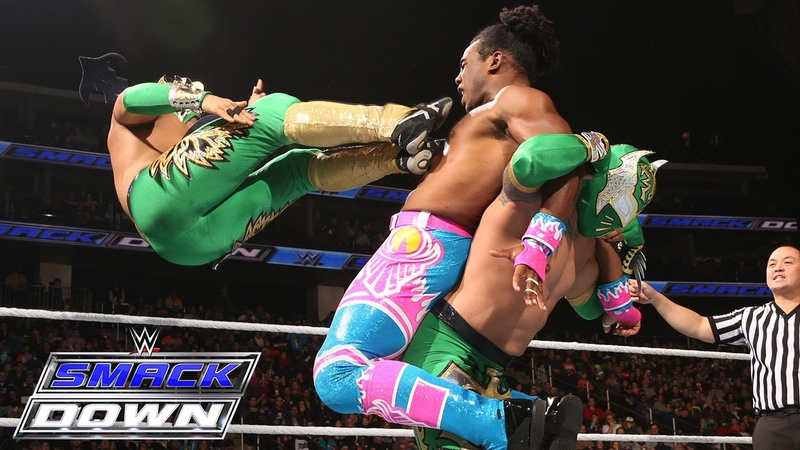Lucha Dragons vs. Kofi Kingston Xavier Woods of The New Day SmackDown, Dec. 17, 2015