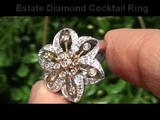 High End Diamond Cocktail Ring Set In Solid 14K White &amp Yellow Gold To Be Auctioned Online