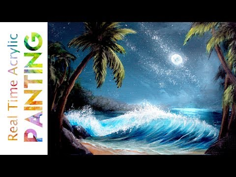 Painting an Ocean Wave under a Starry Night Sky in Real Time with Acrylics!
