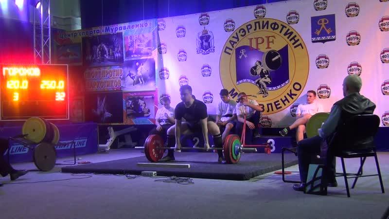 Горохов Дмитрий в/к до 105кг. Тяга становая 250 кг (3 подход)