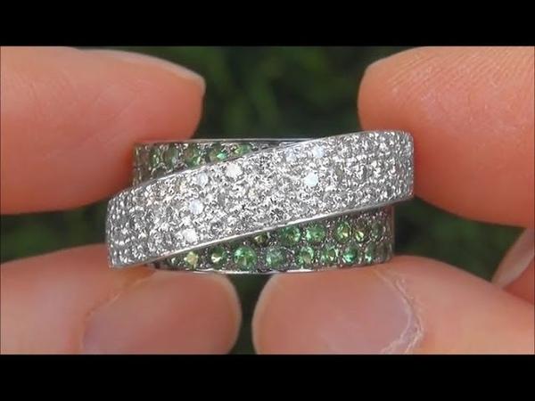 Certified Chrome Green Tsavorite Garnet Diamond Bridge 14k Gold Cocktail Ring - A141022