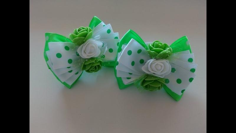 Бантики из атласных лент МК Канзаши Bows of satin ribbons Kanzashi MK