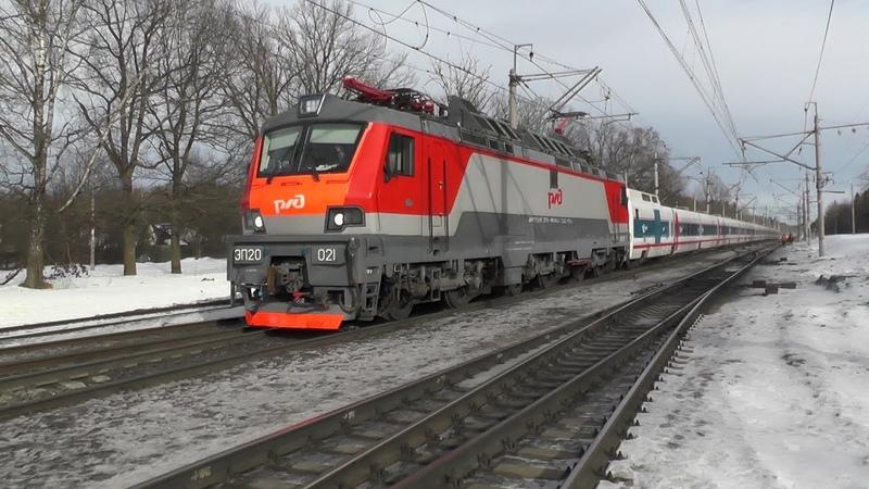 Электровоз ЭП20 021 с поездом № 013 Москва Берлин