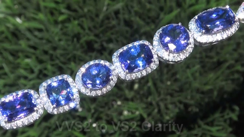 TOP GEM QUALITY GIA Certified VVS1 Clarity 50.07 Carat D-Block Tanzanite Diamond Bracelet 18K