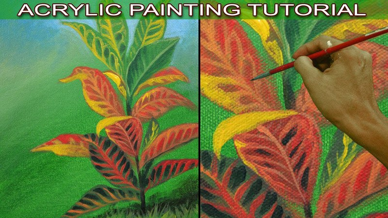 Acrylic Painting Tutorial on How to Paint Realistic Croton Plant Easy and Basic by JMLisondra