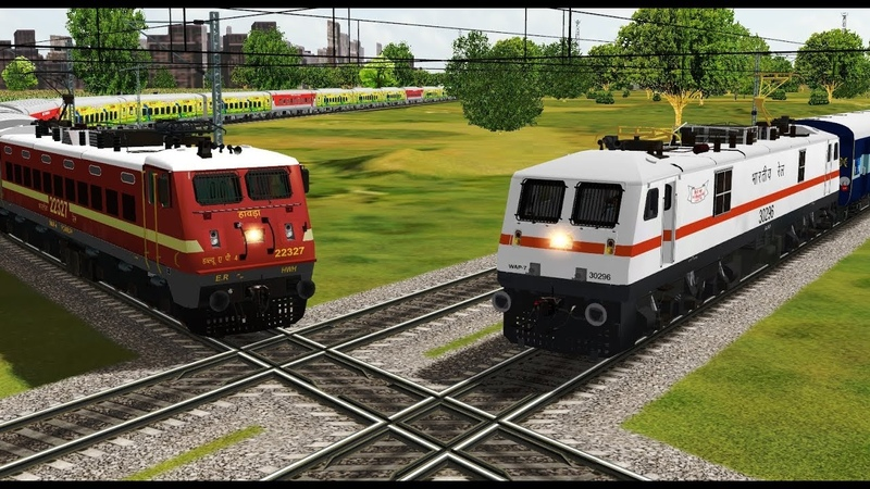 Two trains crossing each other at India's Famous Diamond Crossing   Indian Railways