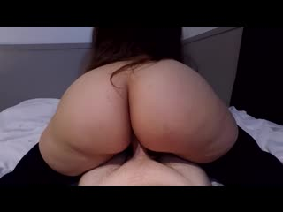 Huge ass thicc girl rides in sweater  stockings, then doggystyle creampie - big ass butts booty tits boobs bbw pawg stockings
