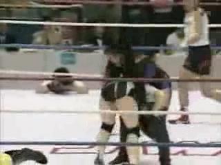 Candy Okutsu, Dynamite Kansai vs. Devil Masami, Hikari Fukuoka (JWP Beijing 1995/5/16)