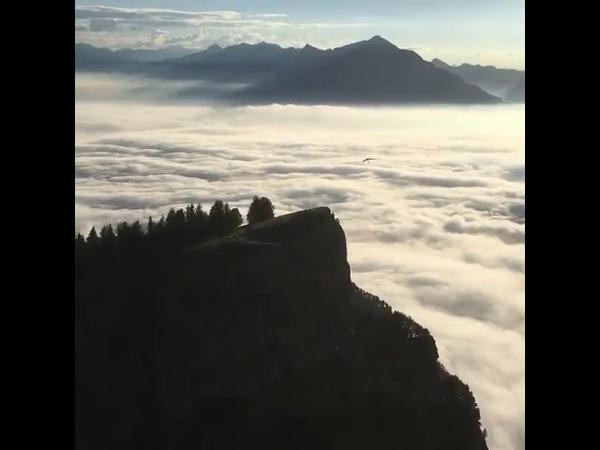 Hang Gliding off of Mount Niederhorn in the Swiss Alps
