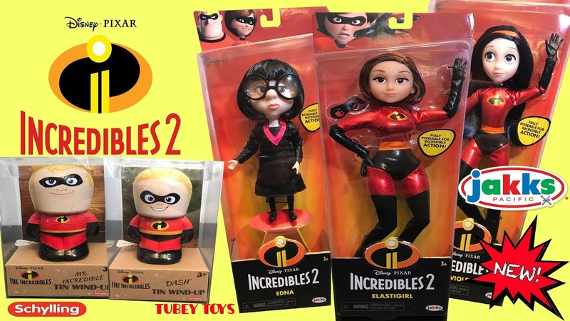 New Disney Pixar The Incredibles 2 Poseable Dolls Jakks Pacific Huge Haul Schylling Tin Toy Wind Up