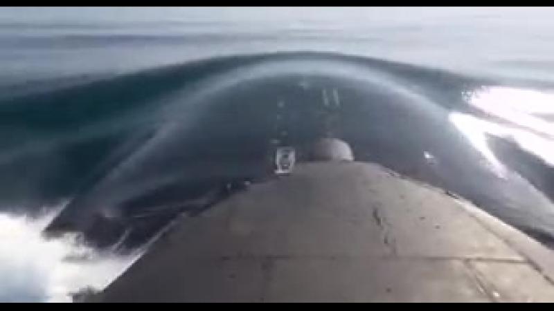 Атомная подлодка Томск стреляет по надводной мишени в Охотском море крылатой ракетой на расстояние в 150 км