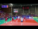 Russia 🇷🇺 @VolleyRus captain Ekaterina Lyubushkina no.11 keeps close guard by the net to deflect Japan 🇯🇵 @JPN_Volleyball's a