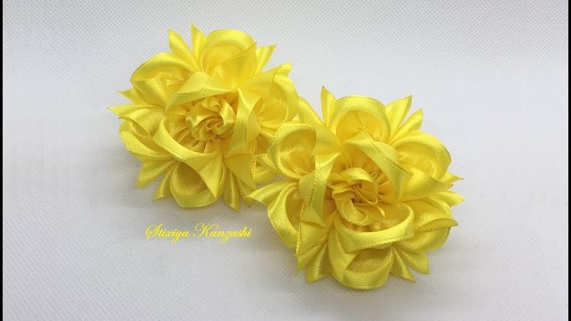 Украшение на резинку Канзаши Жёлтые цветочки