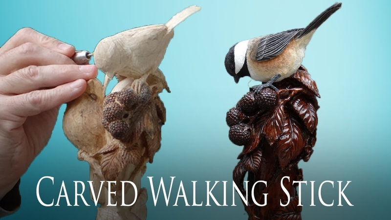 Wood Carved Chickadee and Blackberry Bramble Walking Stick