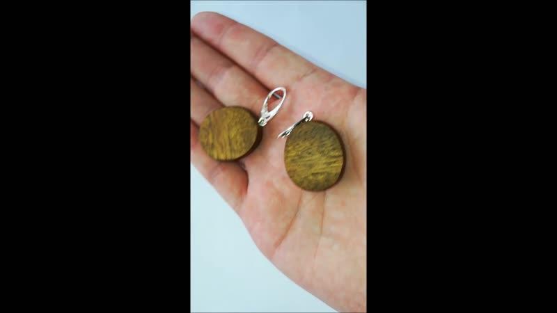 Серьги из древесины Биболо Bibolo