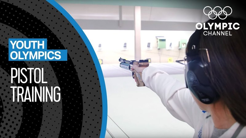Focused on the target Pistol Training for a medal at YOG2018 Youth Olympic Games