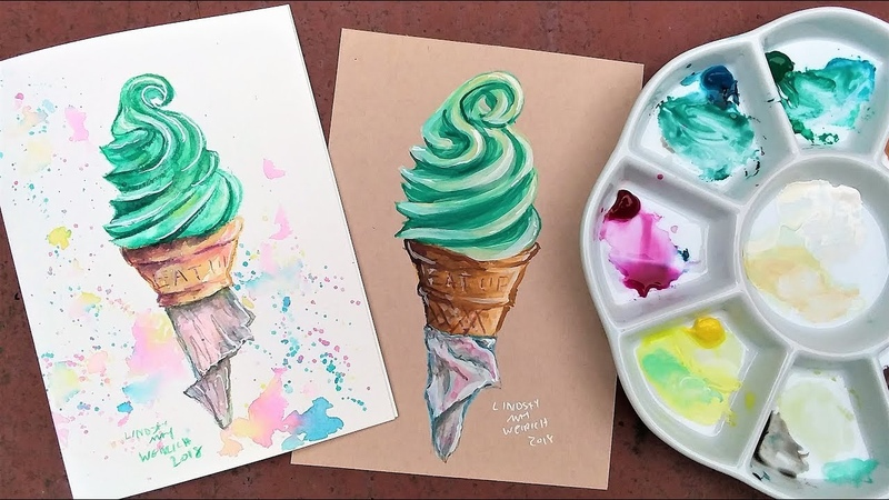 Watercolor on Toned vs White Paper Beginner friendly ice cream real time tutorial!