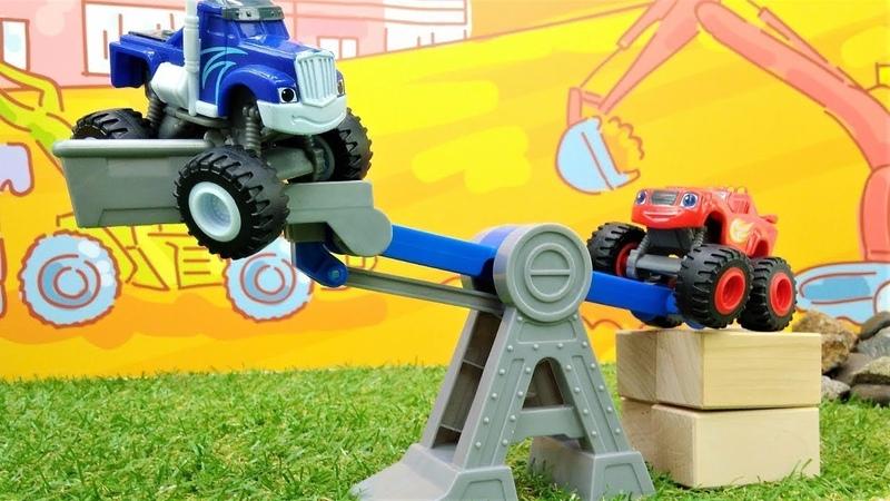 Spielzeugvideo für Kinder mit den Monster Maschinen – Blaze spielt auf eine Baustelle