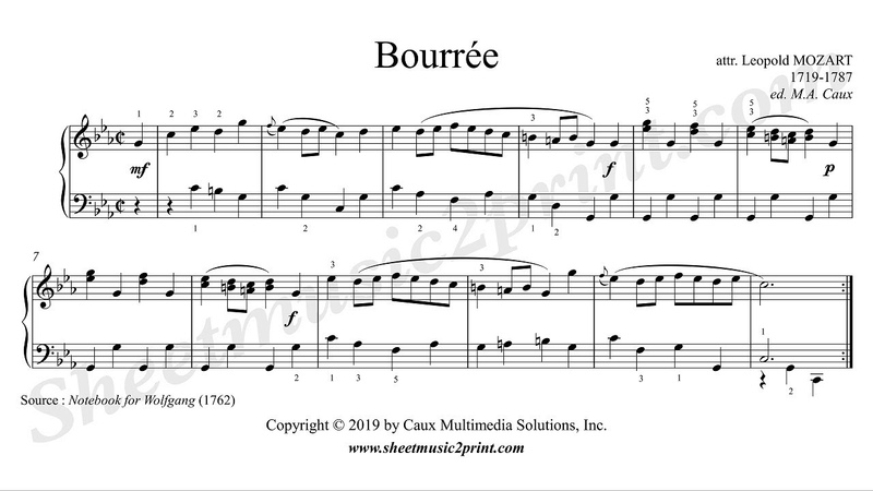 Bourrée in C minor Notebook for Wolfgang Mozart