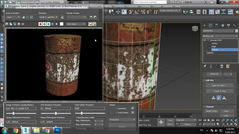 Basic Unwrapping in 3dsmax and texturing in Photoshop.