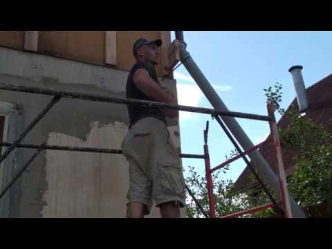 Мокрый Фасад, СФТК, провеска фасадов шнурками перед приклейкой утеплителя на фасад дома