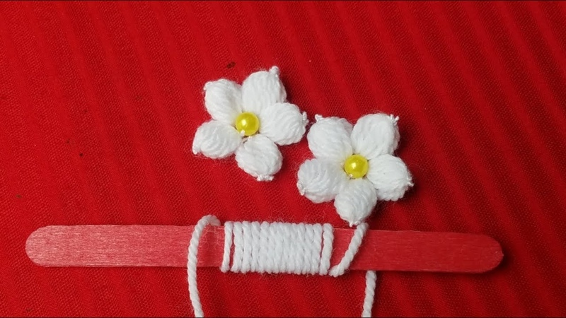 Hand Embroidery:Making Unique White Flower With Ice cream Stick/Amazing New TrickSewing Hack Part14