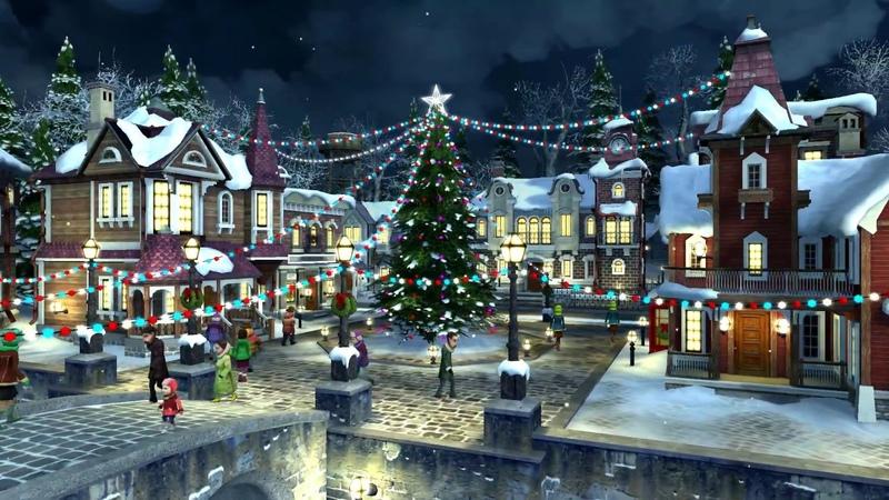 🎅🎄 Christmas Snowing Village ☃️❄️⭐️ Relaxing Festive Xmas Music Instrumental Piano ⭐️ 3 HR 1080HD