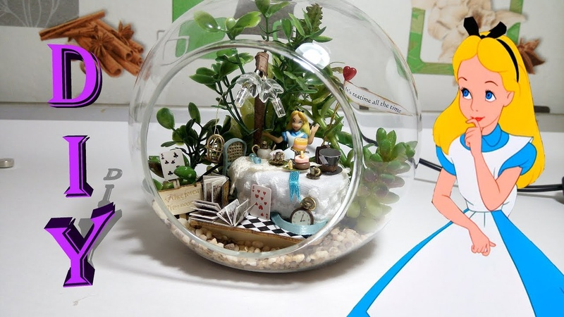 DIY Miniature Alice Forest dollhouse with working light in glass ball