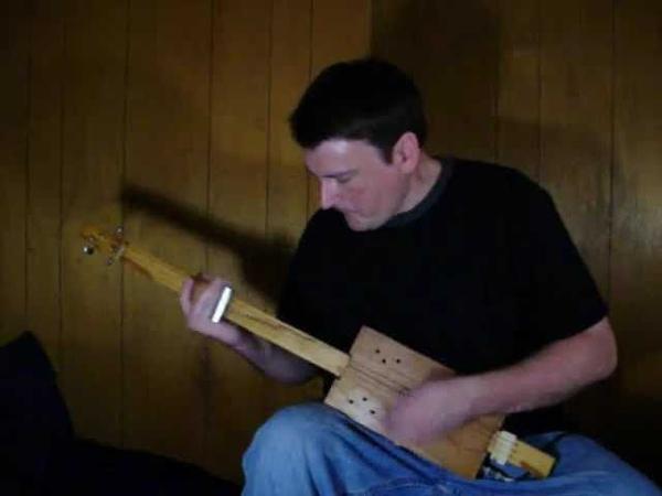 Voodoo Child Cigar Box GUITAR fretless slide 3 string Jimi Hendrix cover CBG junk Mark Stowe
