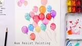 How to Paint Balloons with Watercolor Wax Resist Painting Technique