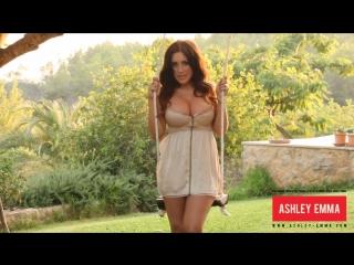 Busty Ashley Emma in summer mini dress