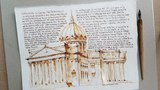 Ink and pen, Kazan Cathedral, St. Petersburg, open-air, drawing