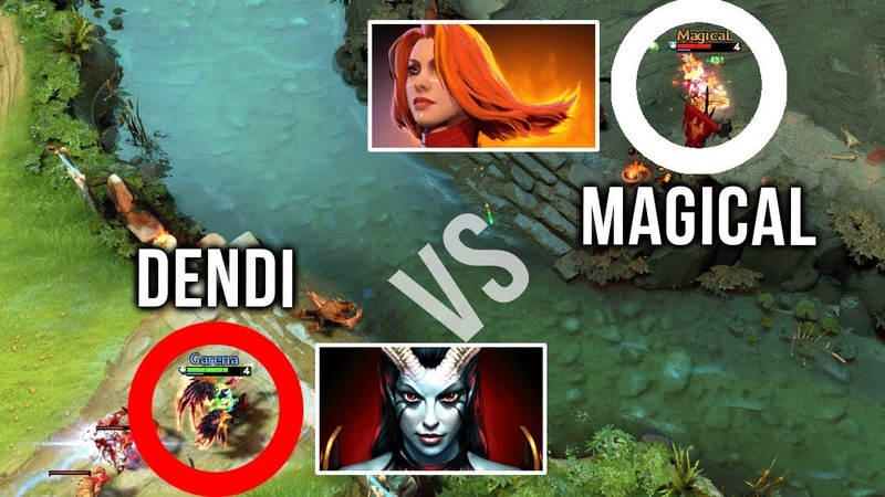 Dendi vs His Old Team Na'Vi - Magical Chu - Queen of Pain vs Lina Mid Battle - Dota 2