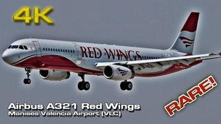 Red Wings [4K] Airbus A321 at Valencia (Close view) ex Monarch (OE-IFC)