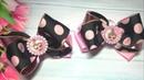 Бантик из ленты 4см с использованием екокожи Ribbon bow 4cm with leatherette мк Arco de la cinta