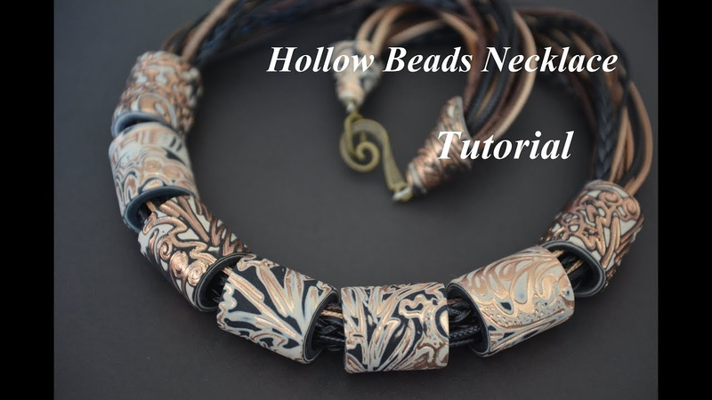 Polymer clay hollow cylinder beads necklace Fimo tutorial колье из полимерной глины ruffle collier