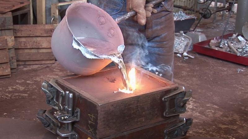 Amazing Fast Skill Casting Aluminum Heavy Technology Machines, Extreme Cast Using Sand Mold Process
