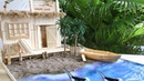 Building a Popsicle stick Pirates House with beach and boat